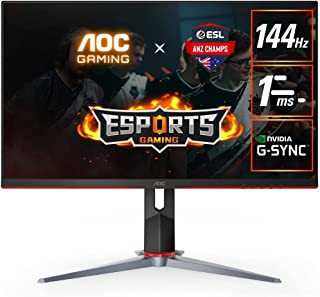 """AOC 27G2 27"""" Frameless Gaming IPS Monitor, FHD 1080P, 1ms 144Hz, NVIDIA G-SYNC Compatible + Adaptive-Sync, Height Adjustab..."""