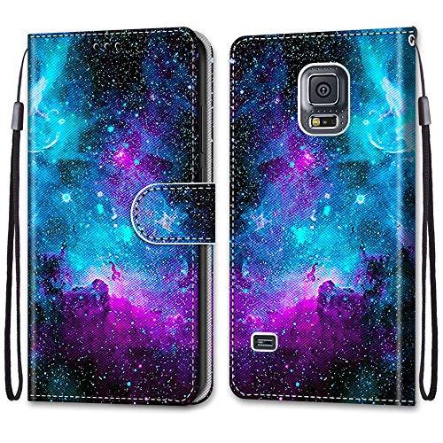 Nadoli Handyhülle Leder für Samsung Galaxy S5,Bunt Bemalt Lila Sternenhimmel Trageschlaufe Kartenfach Magnet Ständer Schutzhülle Brieftasche Ledertasche Tasche Etui