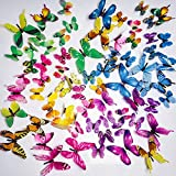 PGFUN Mariposa luminosa 72pcs Colorido Pegatina de pared 3D mural de Arte Artesania bricolaje Removible pegatinas decoracion de mariposa para la decoracion del hogar kids room...
