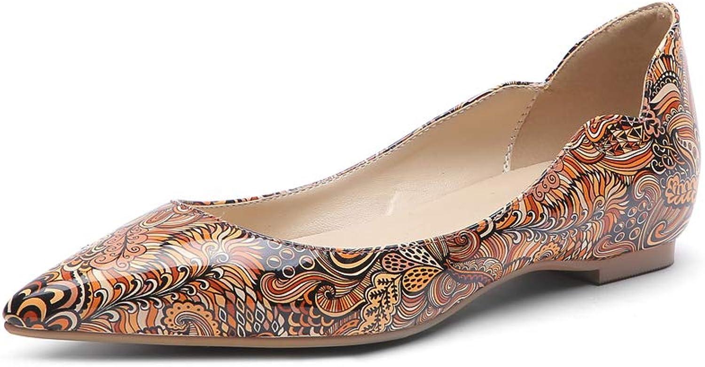 Damen Ballerinas Flache Schuhe Pumps Mary Jane Flats Sandalen Farbmuster Geschlossene Spitze Slip On Casual Kleid,Gelb,EU35 UK3