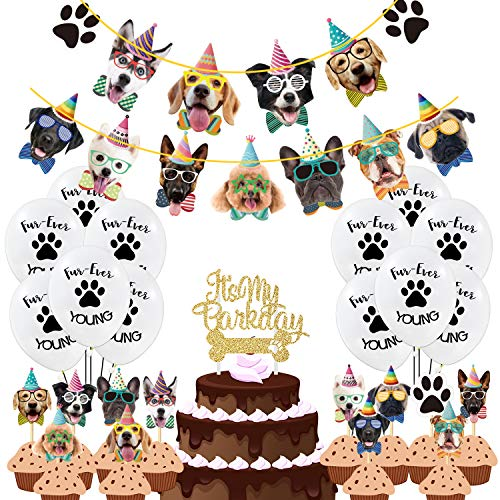 Duufin 50 Pcs Dog Theme Party Decoration Set Dog Birthday Banner Dog Cupcake Toppers Paw Balloons for Dog Theme Party Baby Shower