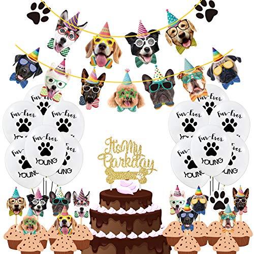 Duufin 50 Stück Hund Geburtstag Banner Ballon Geburtstag Welpen Cupcake Topper für Pet Theme Geburtstagsfeier Hundegeburtstage