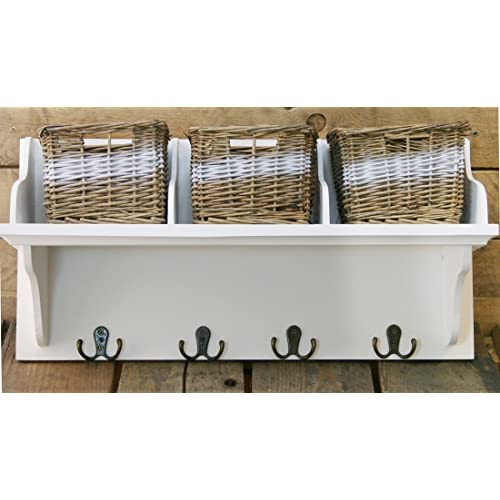 Schon Wicker Storage Unit With 3 Baskets And Coat Hook Hangers