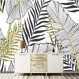 XZCWWH Noir Et Blanc Feuille De Bananier Noix De Coco Palmier Peintures Murales De...