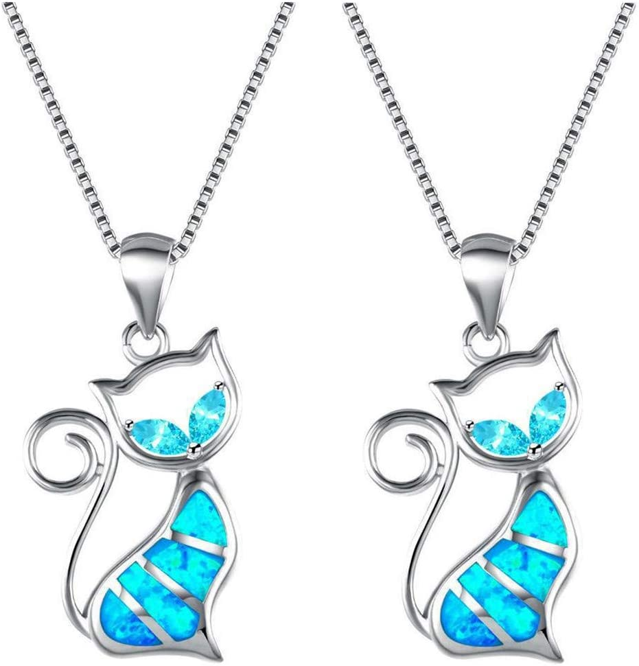 Qikafan Cat Necklace Pendant for Crystal Gifts Ocean Purchase Blue Super sale Women