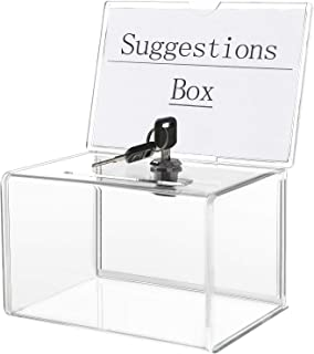 KYODOLED Acrylic Donation Box with Lock,Ballot Box with Sign Holder,Suggestion Box Storage Container for Voting, Raffle Bo...