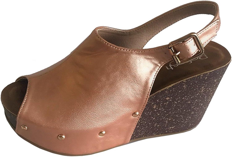 Refresh Footwear Women's Slingback Peep Toe Wedge Platform Sandal