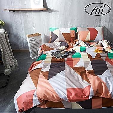 VM VOUGEMARKET 100% Cotton Geometric Duvet Cover Set with Zipper and Corner Ties-Queen,Reversible Diamond Bedding Set for Adults,Men,Women