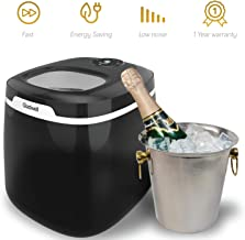 Gladwell Countertop Ice Maker Machine - Portable bullet Ice Cube Makers Makes 50 LB Of Ice Cubes Small/Regular Low Noise No Plumbing Easy To Clean Mini Machines - 1 Year Warranty - Jet Black