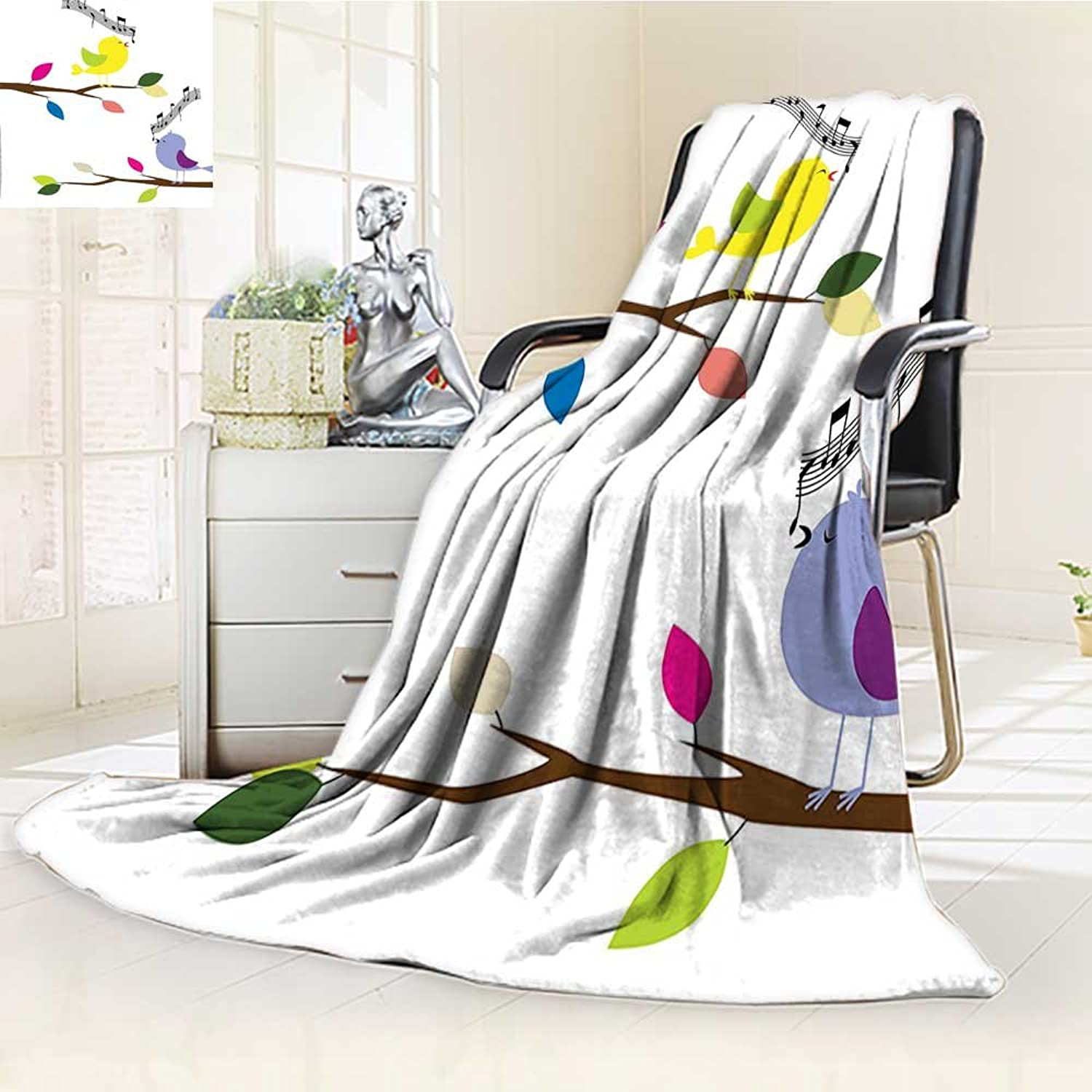 YOYI-HOME Fleece Duplex Printed Blanket 300 GSM Flying Birds of colorful Birds Singing on a Tree Best Happiness Mascots Artsy Humor Multi Reversible Super Soft Warm Fuzzy Bed Blanket  W39.5 x H59