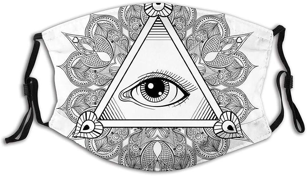 Vintage Elegant All Seeing Eye Tattoo Symbol Fashionable Boho Mandala with Mask Face