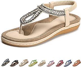 e012926a76b58 Camfosy Sandales Femmes Plates Été, Chaussures Nu Pieds Claquettes Tongs  Plage à Talons Plats Semelle