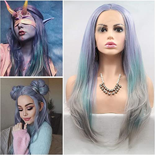 compras de moda online LADCY Moda Color Mezclado Mezclado Mezclado Frente Encaje Rizado Cosplay Fiesta púrpura Cian Y gris Gran Pelo Ondulado Resistente Al Calor Peluca Transpirable Modelos Femeninos 24 Pulgadas