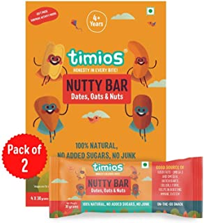 Timios Nutty Bar | Healthy Snack for Kids | Natural Energy Food Product for Toddlers | Nutritious and Ready to Eat | Child...