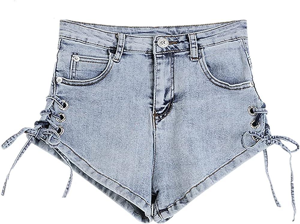 NP Summer Bandage Denim Shorts Women Lace Up Pocket Jeans Shorts