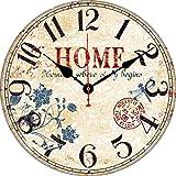 BERYART Orologio da parete silenzioso senza ticchettio, con numeri arabi, stile retrò, orologio da parete rotondo, in legno, funzionamento a batteria, per interni rustici