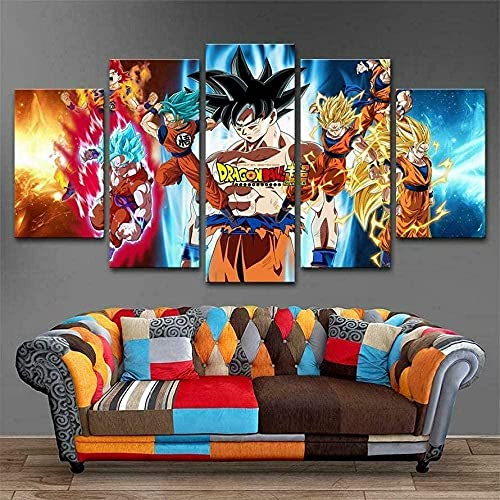 cuadro en lienzo impresión de 5 piezas - Enmarcado y listo para colgar Dibujos animados de Anime Z Goku 150x80cm