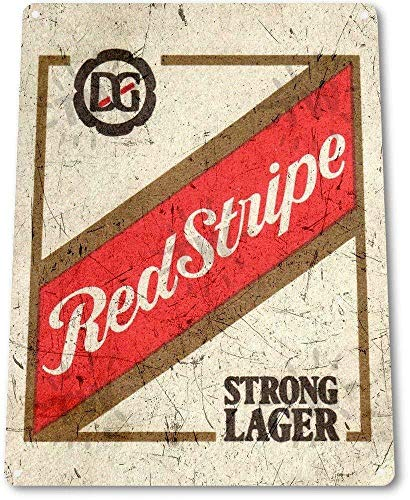 Tamengi Red Stripe Beer Old Lager Metal Decor Art Bar Pub Man Cave Sign, 8 in X 12 In Art Decor