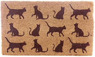 Puckador Coir Door Mat-Cats, Mixed, Height 1cm Width 75cm Depth 45cm