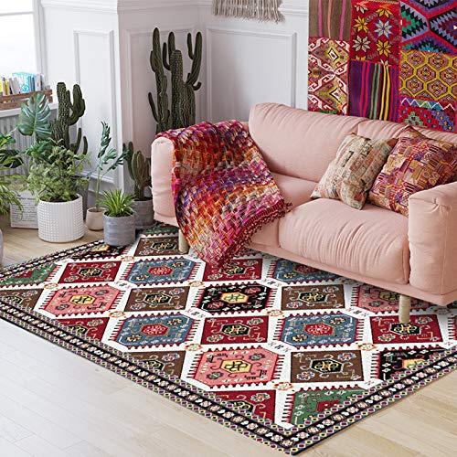 AIJOAIM Alfombra de estilo persa para sala de estar, dormitorio, sofá, mesa de café, alfombra geométrica, decoración del hogar, alfombra antideslizante, 120 x 160 cm