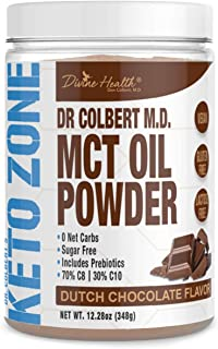 Dr. Colbert's Keto Zone MCT Oil Powder | Dutch Chocolate Flavor | 70% C8 | 30% C10 | All Natural Keto Approved for Ketosis...