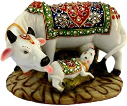 Mahi Home Decore stone Good Luck Gift Items Art Handicraft gift gallery Decorative Marble dust/Polyresin Cow and Calf Show...