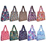 10 Pack Reusable Grocery Shopping Bags, SZUAH Foldable Shopping Bags Grocery Tote