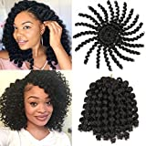 6 Pcs Jumpy Afro Kinky Twist Crochet Braid Natural Black Jamaican Bounce Synthetic Braiding Hair Extension 8 Inch 20 Strands 1B