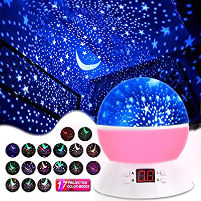 MOKOQI Star Projector Night Lights for Kids with Timer, Gifts for 1-14 Year Old Girl and Boy, Room Lights for Kids Glow in The Dark Stars and Moon can Make Child Sleep Peacefully and Best Gift-Pink