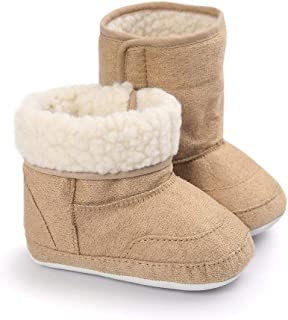 LIVEBOX Prewalker Toddler Boots Premium Soft Anti-Slip Sole Warm Winter Boots for Infant Baby Girls (S: 0~6 Months,Khaki2)