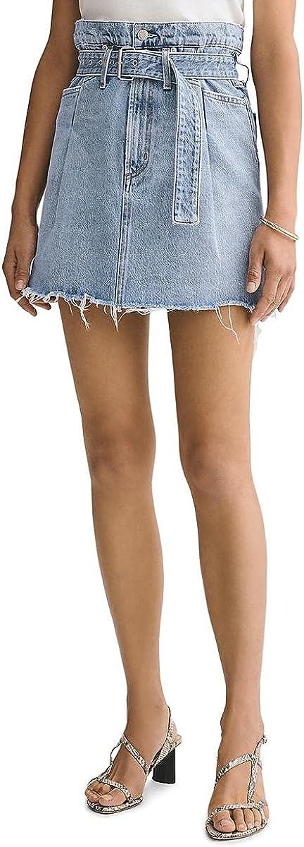 AGOLDE Womens Frayed Hem Belted Denim Skirt