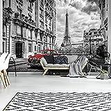 FORWALL AMF11674_P - Carta da parati fotografica con auto rossa di Parigi, Paper Blue Back., nero e bianco, rosso., P8 (368cm. x 254cm.)