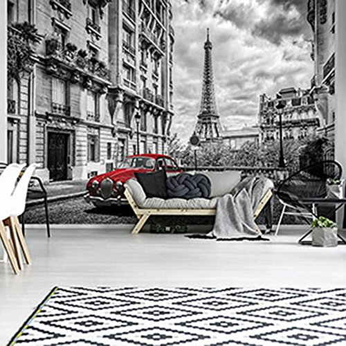 FORWALL Fototapete Tapete Rotes Auto in Paris P8 (368cm. x 254cm.) AMF11674P8 Wandtapete Design Tapete