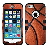 MYTURTLE Hybrid Phone Case for Apple iPhone SE 5S 5 Shock-Absorption and Anti-Scratch Bumper Back Cover Bundled with New Generation [9H Flexible Nano Glass] Screen Protector, Basketball