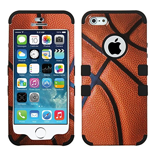 MYTURTLE Hybrid Phone Case for Apple iPhone SE 2016, 4-inch Display, iPhone 5S 2013 Shockproof, Anti-Scratch Cover Bundled with [9H Flexible Nano Glass] Screen Protector, Basketball