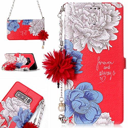 Samsung Galaxy Note 8 花柄 手帳型 ケース, CrazyLemon PUレザー 綺麗 白い 青い バラ 赤い 手帳型ケース 花 ストラップ 付き ギャラクシーnote8 財布型 ケース 1枚 カードホルダー マグネット 横置き 機能 防塵 耐衝撃 - 柄04