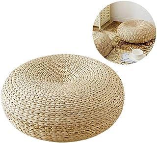 Anjinguang Cojín tejida de paja, paja plana amortiguador de asiento Beige