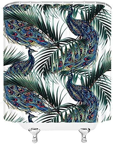 Duschvorhang Grün-Blauer Pfau Shower Curtains Polyester Duschvorhänge Wasserdicht Shower Curtain Antibakterielles Duschvorhang Badewanne Antischimmel Inkl 12 Duschvorhangringen 150x180