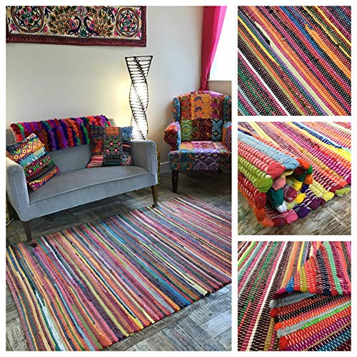 Second Nature Online Rainbow Eco Friendly Rag Rug Hand Loomed with Multi Colour Recycled Material (180cm x 270cm)
