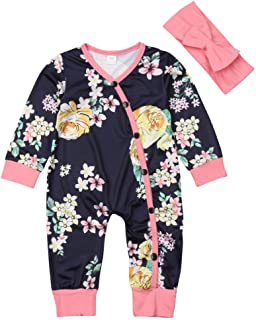 Newborn Infant Baby Girls Romper Jumpsuit Long Sleeve Floral Bodysuit Pajamas Outfit with Headband Fall Winter 0-24M