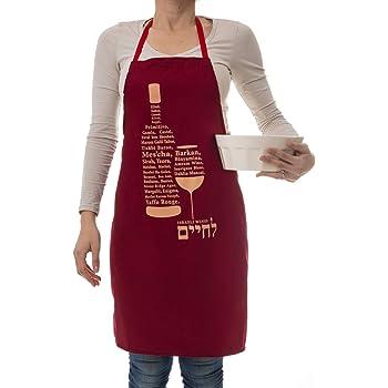 BARBARA SHAW GIFTS Israeli Wines and Vineyards Apron Gifts for Jewish Men Israeli Gifts Jewish Gifts Kosher Mens Apron Burgundy Made in Jerusalem