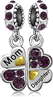 JMQJewelry Mother Mom Love Daughter Heart Clover Birthday Birthstone Jan-Dec Dangle Charms for Bracelets Women Jewelry