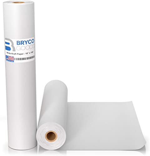White Kraft Arts and Crafts Paper Roll - 18 inches by 100 Feet (1200 Inch) - Ideal for Paints, Wall Art, Easel Paper,...