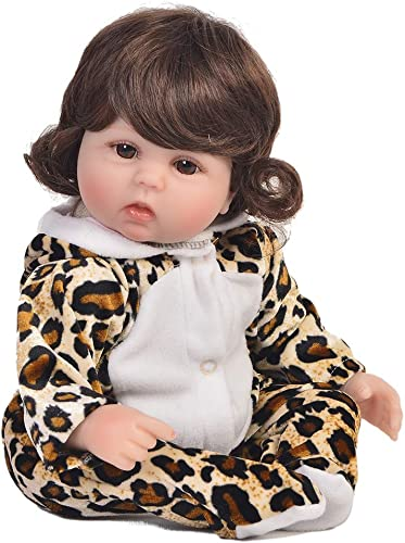 DMZH 43cm Leopard Baby Reborn Babypuppen Simulation Weiß puppe Weißted Body Genial Facial Kids Toys