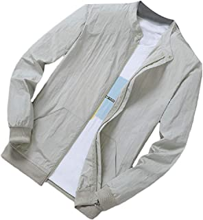 RkBaoye Men Solid-Colored Stylish Casual Loose Fit Zip-Front Anti-Sun Coat