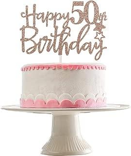 Rose Gold Glittery Happy 50th Birthday Cake Topper,50th Birthday Party Decorations,Birthday Cake Decor