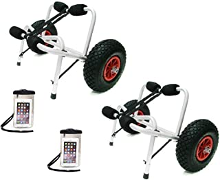 TMS 2 X Jon Boat Kayak Canoe Carrier Dolly Trailer Tote Trolley W/2 Free Cellphone Bag