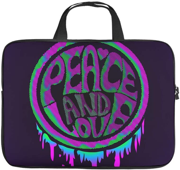 Psychedelic Peace /& Love Laptop Bag Stylish Full Printed Laptop Protective Case Cover Anti-Scratch Neoprene Laptop Carrying Case for Businessmen Office Staff White 13inch