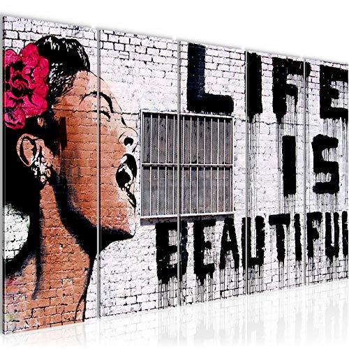 Cuadro Banksy Life is Beautiful Impresión de arte Cuadro in Lienzo no Tejido Sala Dormitorio 301356a