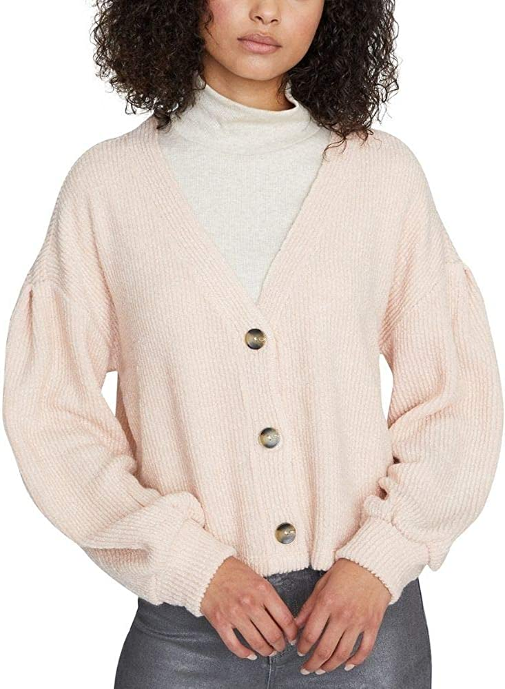 Sanctuary Women's The Fuzzy Ribbed Cardigan Sweater Light Pink XS